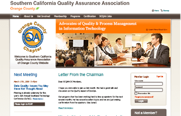 Website for Southern California Quality Assurance Association of Orange County