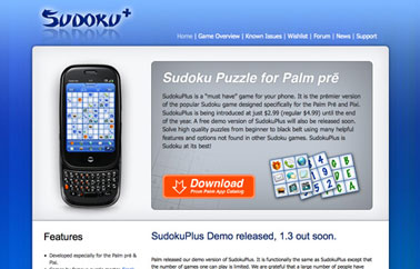 Homepage of Palm WebOS Game SudokuPlus